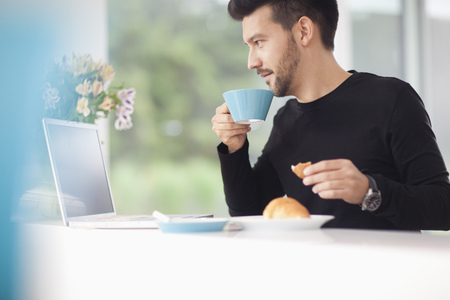 Mid adult man looking at laptop over breakfast LANG_EVOIMAGES