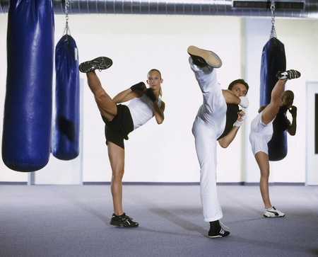View of a group of people kickboxing