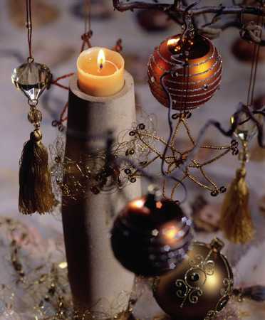 Still life of a burning Christmas candle