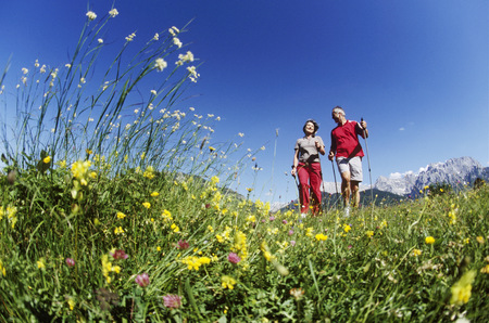 Couple hiking in hills of Germany