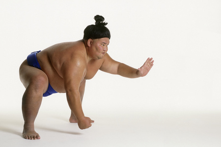 View of a sumo wrestler squatting LANG_EVOIMAGES