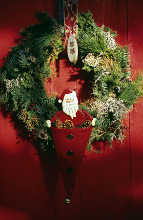 View of a Christmas wreath hanging on a door