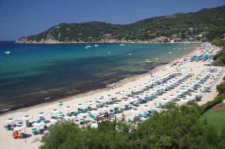 Scenic view of beach at Biodola, Island of Elba, Tuscany, Italy LANG_EVOIMAGES