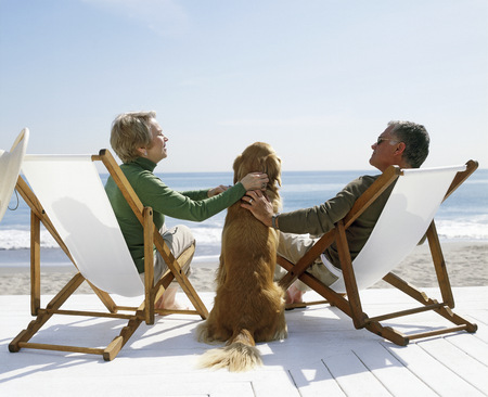 View of a couple petting golden retriever as they sit in lawn chairs on the beach LANG_EVOIMAGES