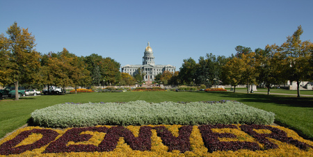 View of the park between City hall and Capitol Building, Denver, Colorado, USA