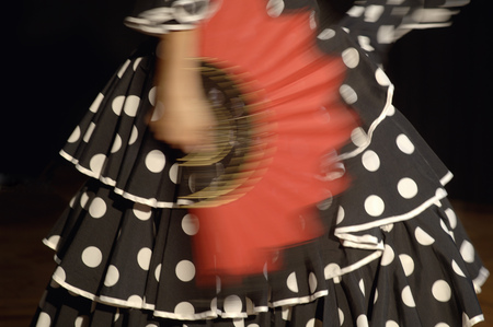 Blurred view of a young woman flamenco dancing