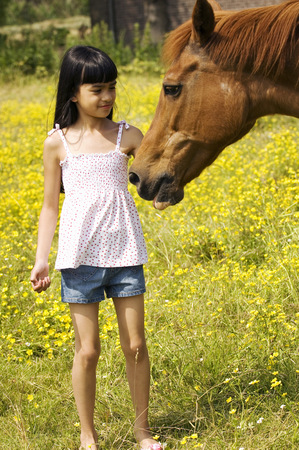 Young girl petting horse in pasture LANG_EVOIMAGES