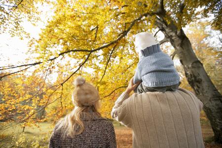 Parents holding child on shoulders in park