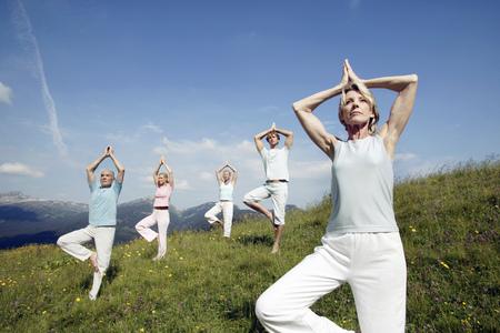Group of people practicing yoga, Kleinwalsertal, Allgau, Germany LANG_EVOIMAGES