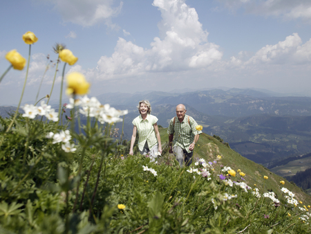 Senior couple hiking, Kleinwalsertal, Allgau, Germany