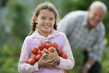 Girl (8-10) carrying bunch of tomatoes, smiling, portrait, grandfather working in vegetable garden LANG_EVOIMAGES