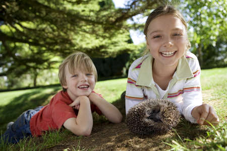 Girl (7-9) and boy (4-6) lying on grass with hedgehog, smiling, portrait LANG_EVOIMAGES