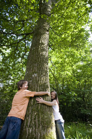 Brother and sister (7-11) embracing tree in forest, low angle view