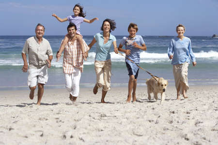 Three generation family running with dog on beach, smiling, girl (6-8) on fathers shoulders
