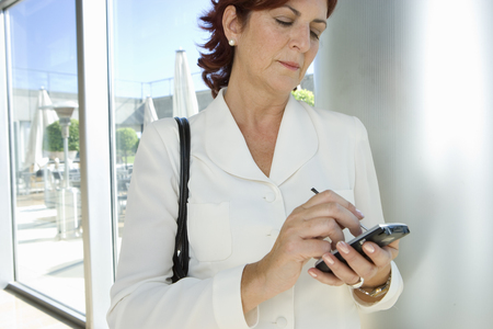 Businesswoman with electronic organiser, close-up