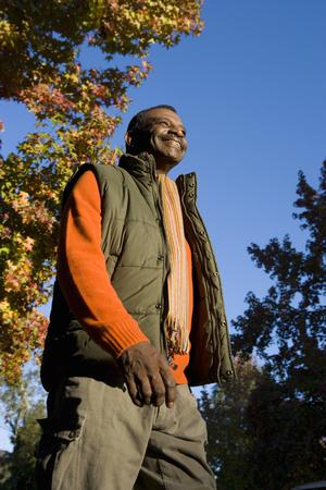 Senior man outdoors in autumn