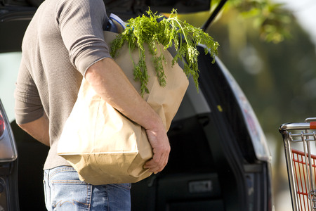 Man loading groceries into rear of car LANG_EVOIMAGES