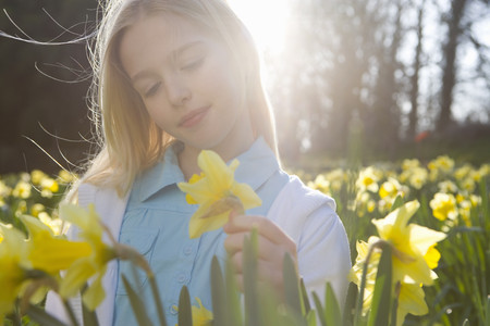 Young girl in field of yellow daffodils