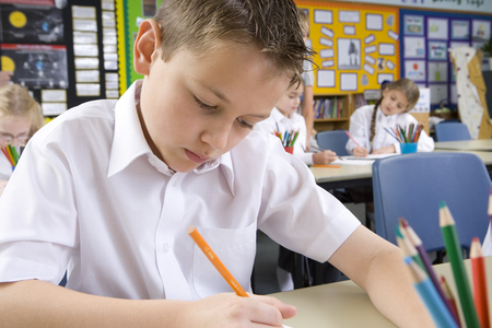 School boy writing in classroom LANG_EVOIMAGES