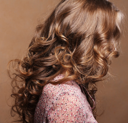 hair roller: Curly Hair. Hairdressing. Wave .Natural Hair Stock Photo