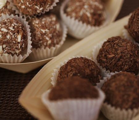 closer: handmade chocolates of different sample Stock Photo