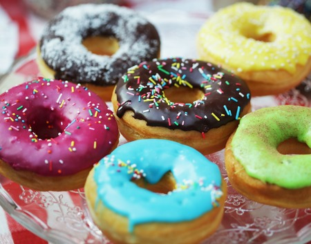 Close up of a selection of colorful donuts