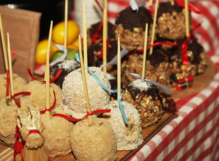Tray full of caramel and candied apples. Holiday.