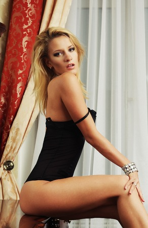 sexy blonde with long legs photo