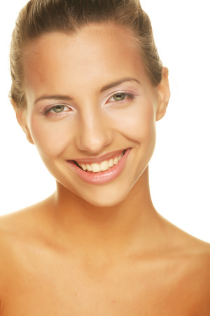 unblemished:  unblemished beauty giving you a big smile  Stock Photo