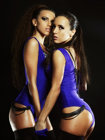 black lesbian: Two sexy woman posing in lingerie