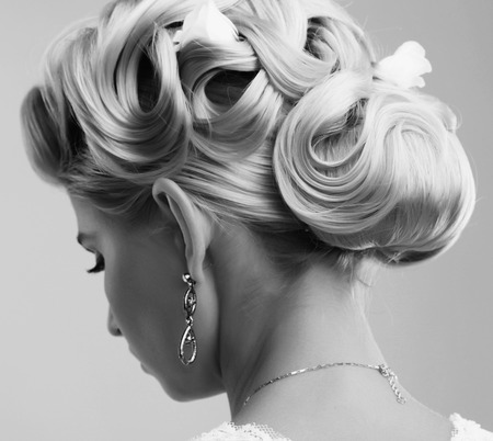 Beauty wedding hairstyle. Bride Reklamní fotografie
