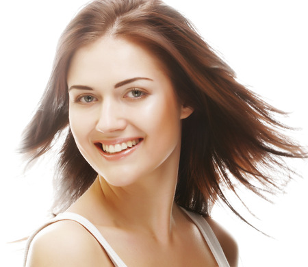 beautiful woman with flying hair photo