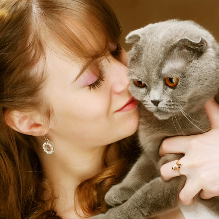 lop eared: Young woman with scottish-fold cat