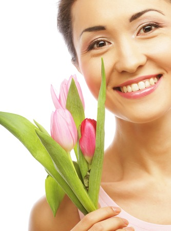 asian tulips: young asian woman with tulips