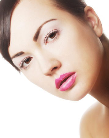 pink lips: lady with pink lips
