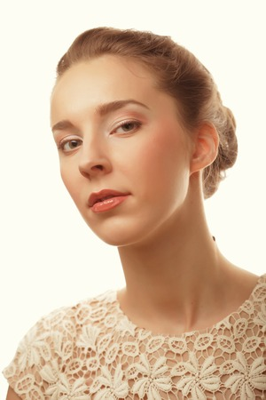 womanliness: young smiling woman with healthy skin
