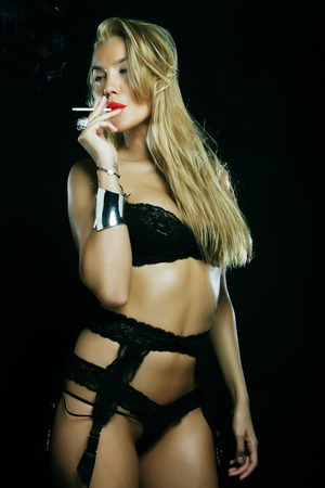 Sexy blond woman  in lingerie photo