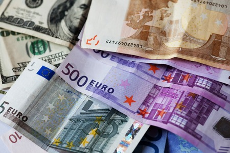 dollar and euro notes.