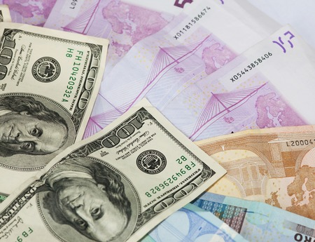 dollar and euro notes. photo