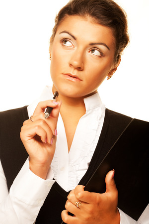 Business woman write on clipboard Stock Photo