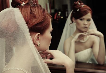 primp: young happy bride Stock Photo