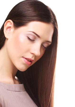 brown  eyed: beautiful woman with long hair groomed