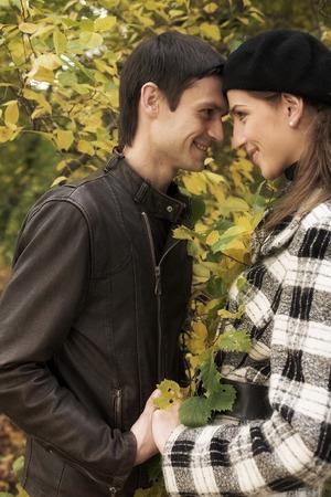 lovely couple: lovely couple in autumn park