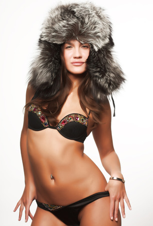 Model in sexy winter outfit