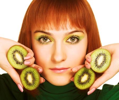 lifestile: woman with kiwi on white