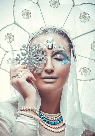 queen of diamonds: Snow Queen over white background.