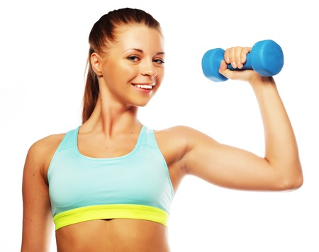 dumbbell: Woman in sport equipment practice with hand weights isolated on white