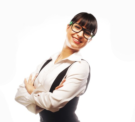 casually: Portrait of young business woman smiling casually over white background