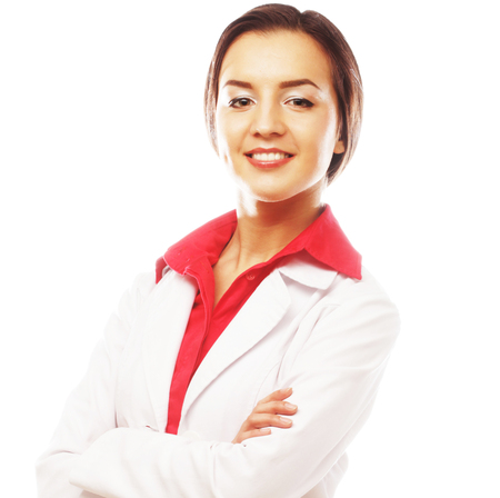 over white background: young businesswoman over white background Stock Photo