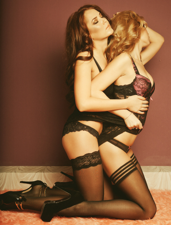 lesbian women: two young sexy woman in lingerie